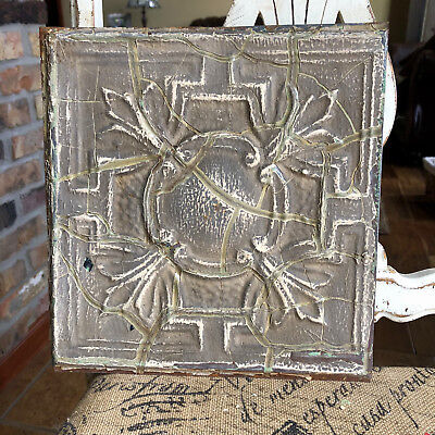 "11"" Antique Tin Ceiling Tile -- Brown Colored Paint with Ornate Design"