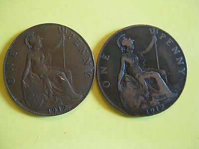 (2) Great Britain Large Pennies 1912