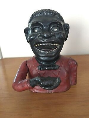 Genuine Antique cast iron Real Jolly N coin bank Shepard Hardware, Buffalo NY