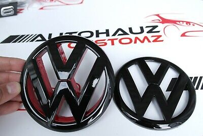 VW MK 6 Front & Rear Grille Hatch Emblem Badge Gloss Black Red Trim GTI TDI GTD