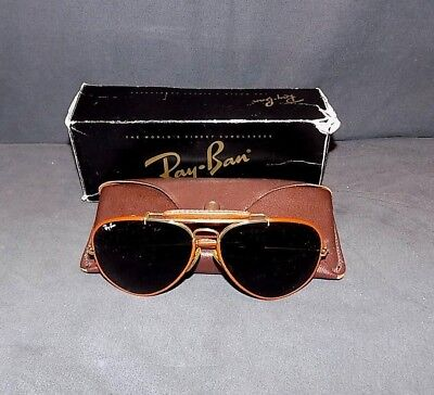 Vintage Ray Ban Leather Outdoorsman Ii Sunglasses L 1648 Med, Brown