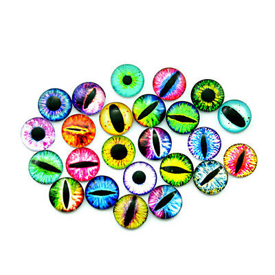 10 Glass Dome 3D Cabochon Dragon Dinosaur Cat Doll Bear Goggle Craft Eyes Animal