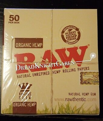 RAW ORGANIC HEMP King Size Slim Natural Unrefined Rolling Papers 50 PER BOX