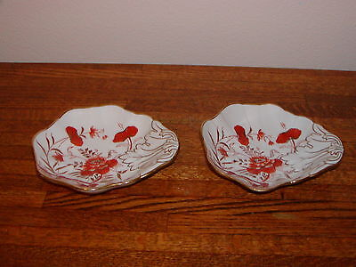 Pair of Vintage Fine Porcelain Dishes Hand Painted Leaf Shaped  Germany 1928
