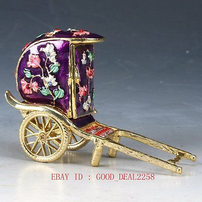 Chinese Cloisonne Hand-carved Pull car statues JTL037
