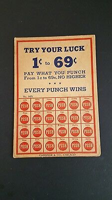 Vintage Gambling Punch Board Try Your Luck!  1 Cent to 69 Cents  Gardner & Co.