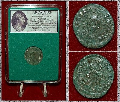 Ancient Roman Empire Coin Of Arcadius Emperor Dragging Bound Captive By Hair