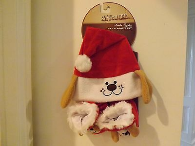 BABY CHRISTMAS HOLIDAY Santa Puppy hat Bootie Set  NWT