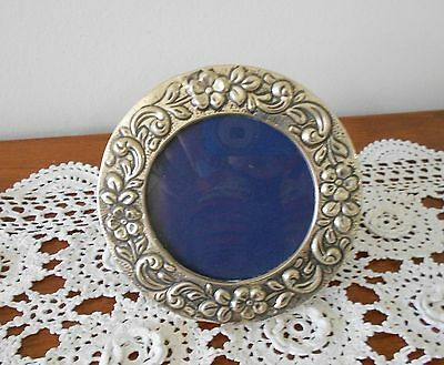 "Vintage 900 Silver Round Photo Frame Ottoman Turkish 5"" Diameter"