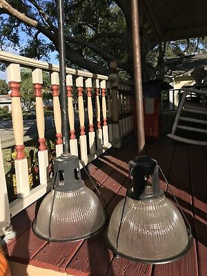 Vintage Pair Of Spero Industrial Hanging Ceiling Lights Holophane Ribbed Shade