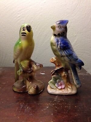 "Vintage Lot of 2 Ceramic Bird Figurines Blue Jay Parakeet Hollow 4"" Japan rough"