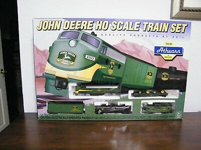 Vintage John Deere Ho Scale Athern Train Set Mint In Box 2 Pewter Tractors