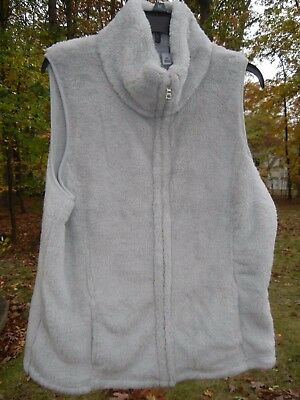 Women's Vault Gray Plush Vest, Zipper Front Size XL NWT