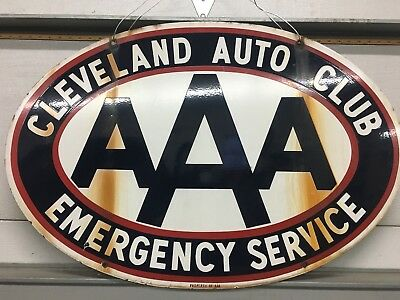 Cleveland AAA 2 Sided Porcelin Sign