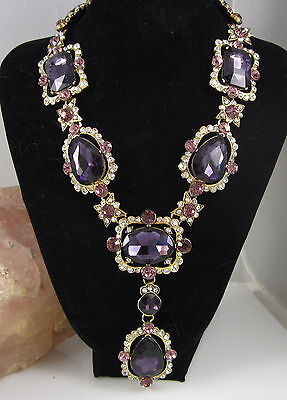 Vintage Huge Signed Oscar De La Renta Goldtone Bright Purple Statement Necklace