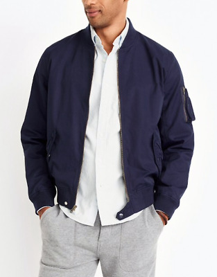 NEW NWT mens J.crew navy blue water resistant MA-1 style bomber jacket coat