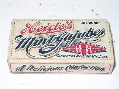 Heides Mint Jujubes Box RARE Early Candy Box w 1906 Pure Food & Drug Act Info