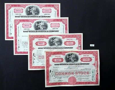 F62 Gulf States Utilities Co stock certificates, Lot of 4