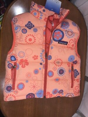 Patagonia Kids XS Down Puffer Vest Orange With Flowers NWT