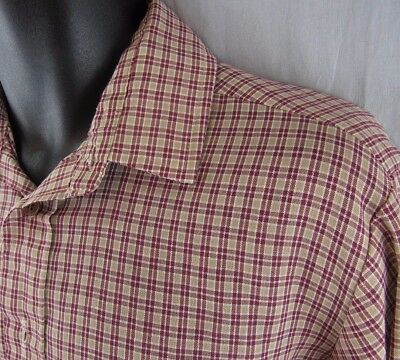 Vintage JCPenney Men's Shirt M Plaid Medium Tapered Fit 15-15.5 Hipster 1970's