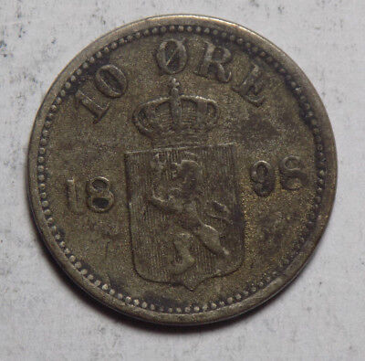 Norway 1898 10 Ore Silver Coin