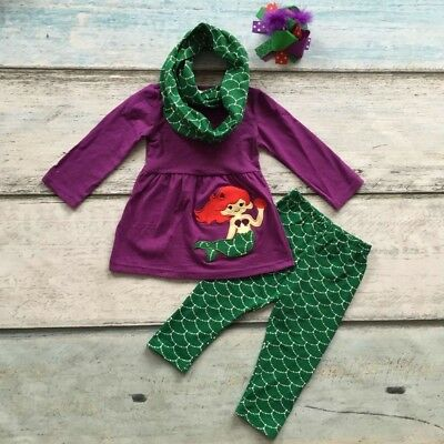 USA Boutique Mermaid Kids Girls Hooded Tops Pants Outfits 2Pcs Set Clothes 1-6T