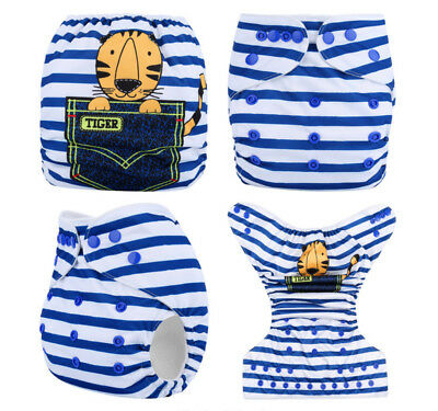 Modern Cloth Reusable Washable Baby Nappy Diaper & Insert, Pocket Tiger