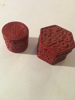 Antique Chinese Cinnabar Box 19/18Th Century Carved Detailed Lot Of 2 Look 👀