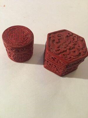Antique Chinese Cinnabar Boxes 19/18Th Century Carved Detailed Lot Of 2 Look 👀