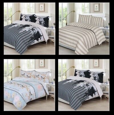 Printed Polycotton Reversible Duvet Cover Bedding Set Double King Single S King