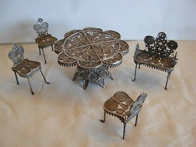 800 ITALY SILVER HAND MADE FILIGREE WORK MINIATURE DINING TABLE & CHAIRS- 65 gr.