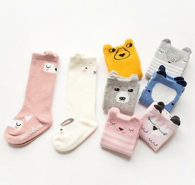 New Cute Cotton Baby Socks Anti-Slip Infant Knee High Socks Newborn Baby Socks