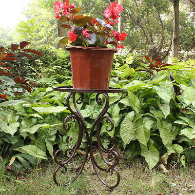 Metal Pot Plant Stand Flower Rack Iron Garden Yard Decor Outdoor Indoor Display
