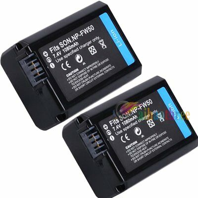 2Pcs NP-FW50 Battery For Sony A7II A7 A7R A7S A6000 A6300 A6500 A55 A5000 A5100