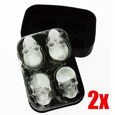 2x Whiskey Silicon Ice Cube Maker Mold Mould 3D Skull Brick Halloween Party Tray