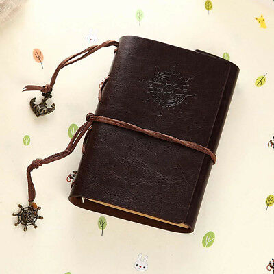 Retro PU Leather Cover Classic Journal Travel Notebook Blank Diary Dark Coffee
