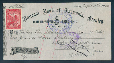 Australia: 1900 National Bank of Tasmania Cheque for £1/1/0d, drawn on Stanley