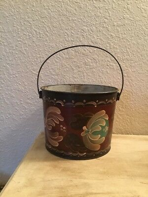 Early Victorian Metal Painted Flower Pail
