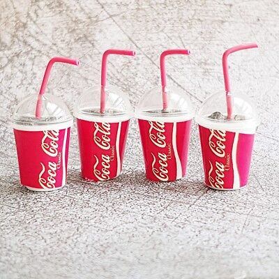 4x COCA-COLA COKE Ice Cup Dollhouse Miniatures Food Soft Soda Drink Beverage Lot
