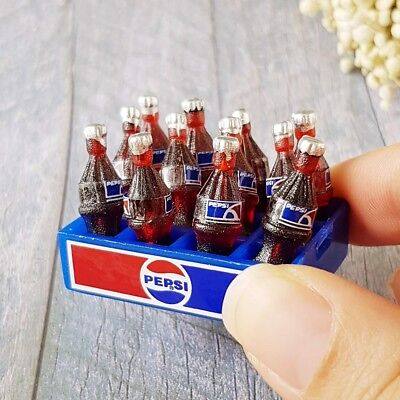 12 Pepsi Cola Bottle Tray Dollhouse Miniature Food Drink Beverage Tiny Soda BJD