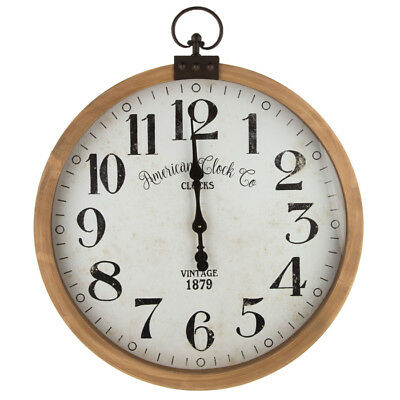 Vintage Wall Clock Wood Rustic w/ Industrial Metal Accent Top Home Decor New
