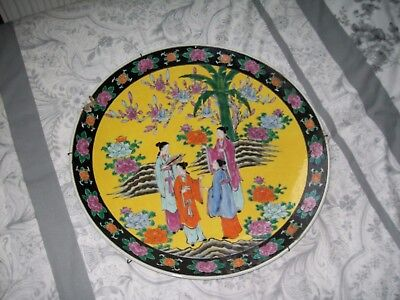 Large Vintage Stoneware Chinese Charger Plate Beautifull Colours