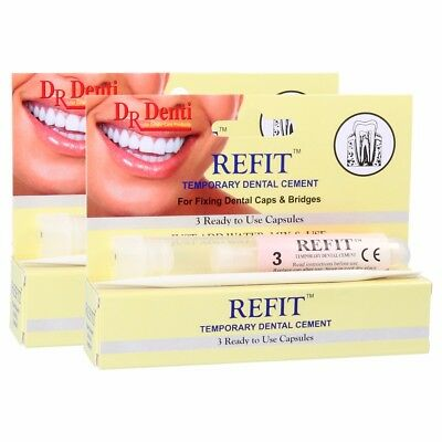 2x DR DENTI REFIT Temporary Dental Cement Repair Tooth Cap Veneer Bridge Denture