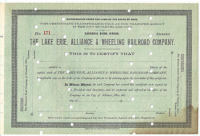 The Lake Erie, Alliance & Wheeling Railroad Company..early 1900's Unissued Stock