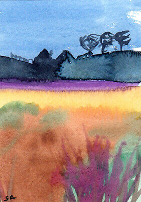 ACEO Original Landscape Watercolor Painting,Small Art,Fine Art by Sonia Aguiar