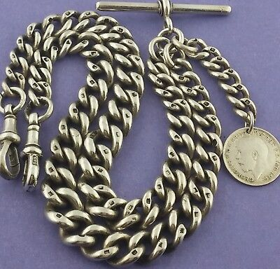 Heavy Antique Solid Silver Double Albert Pocket Watch Chain W Fob 16½ Inch