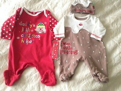 MOTHERCARE/GEORGE Tiny Baby BNWT Christmas Boy/Girl Clothes Romper Bodysuit Hat