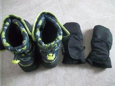 Big Kids Size 4 Snow BOOTS + Size 8 / 10 Years MITTONS / Gloves - Boys