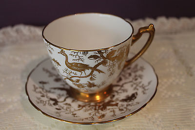 Coalport Tea Cup And Saucer - White Base With Gold Cairo Bird And Insects