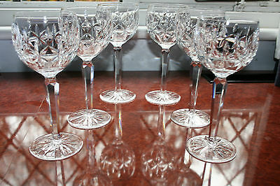 """Six Waterford Crystal Glasses In The Rosslare Design 7.3/8"""" Tall"""